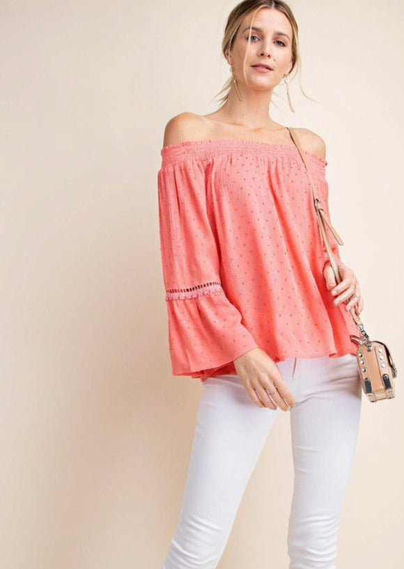 Coral Swiss Dot Off The Shoulder Top