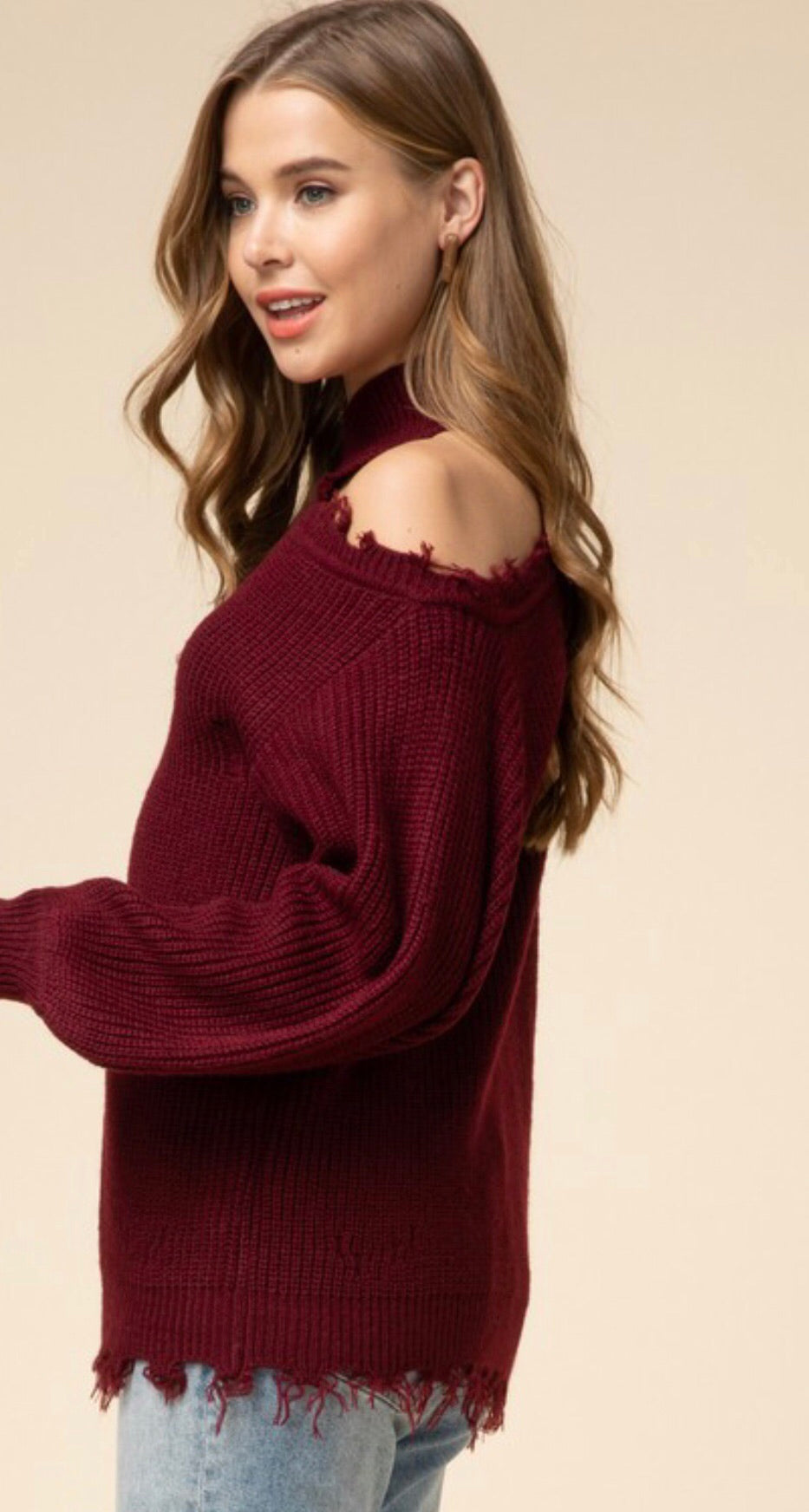 Burgundy One Shoulder Distressed Sweater