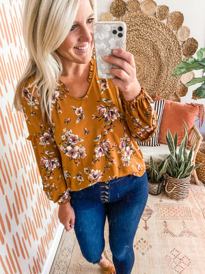 Mustard Floral Ruffle Detail Top