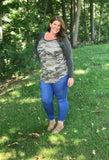 Camo Charcoal Contrast Top