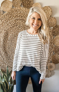Oatmeal/Olive Striped Dolman Sleeve Tunic