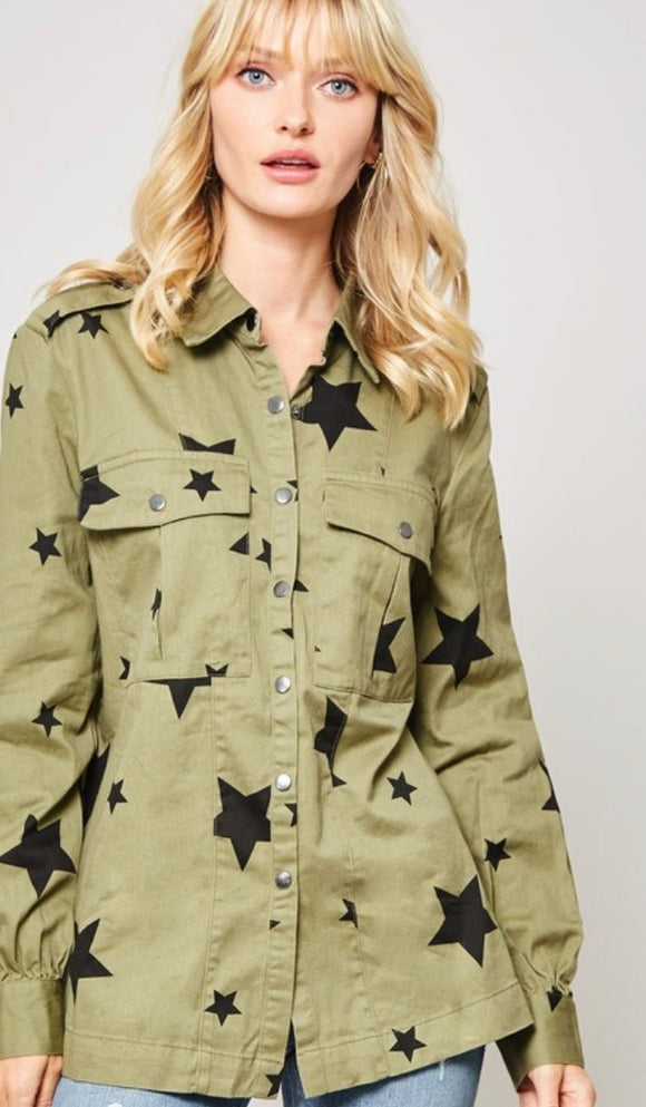 Olive Star Print Button Up