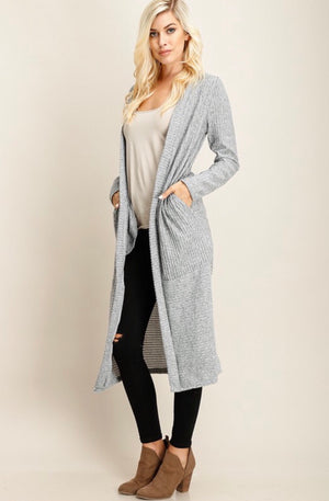 Heather Grey Textured Cardigan
