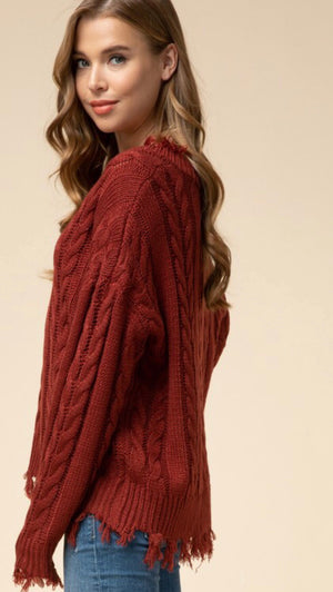 Rust Frayed Hem Sweater