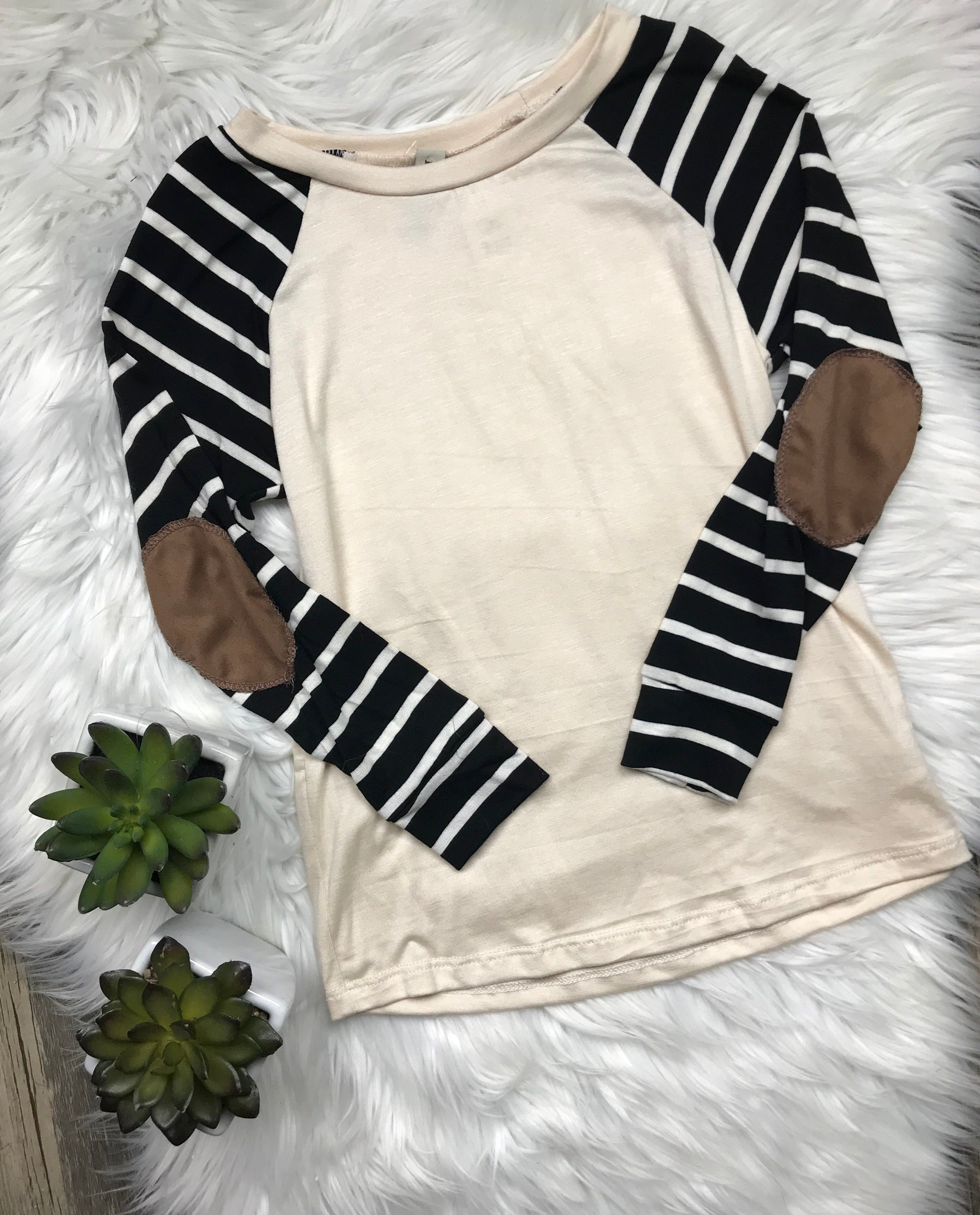 Sand Striped Elbow Patch Top