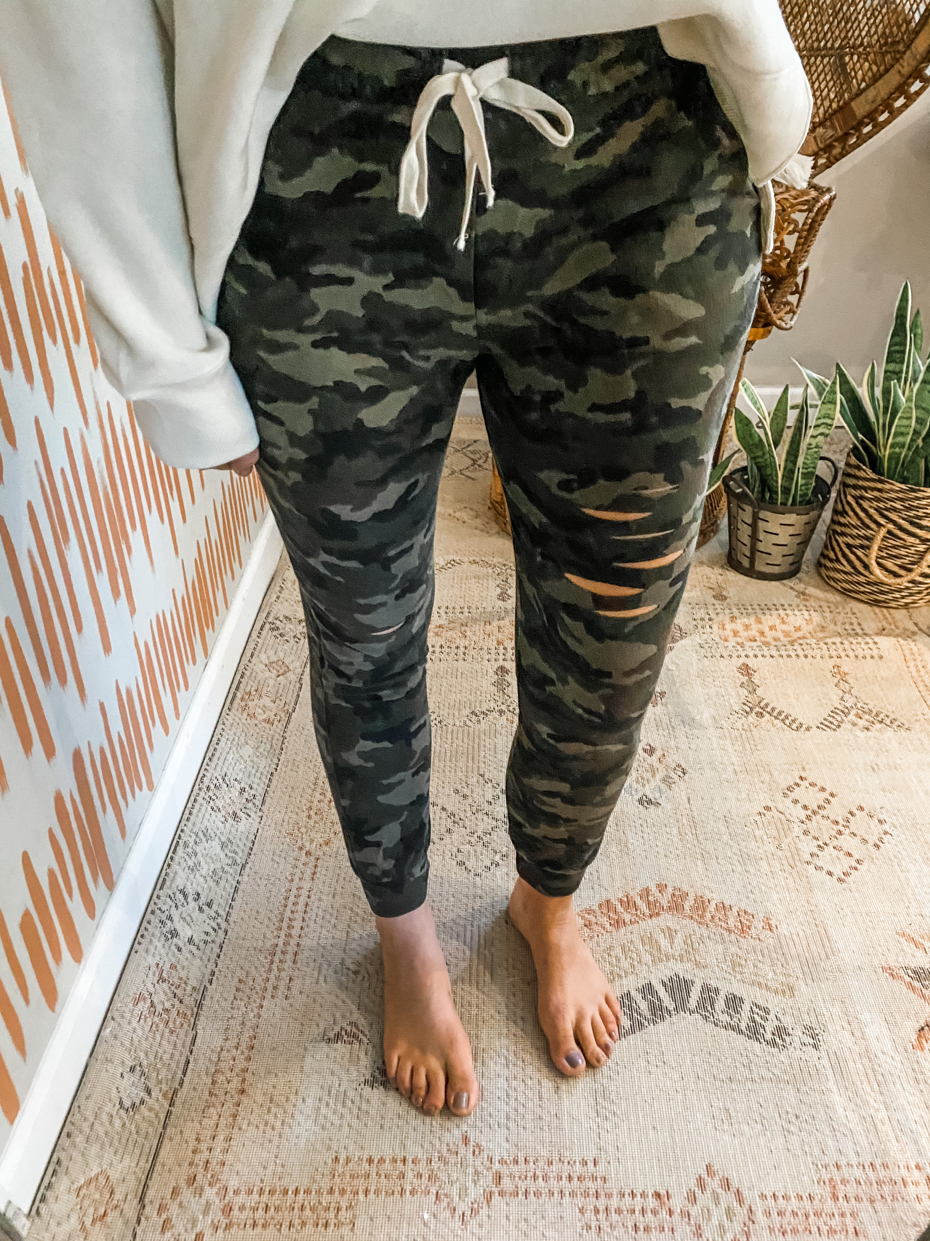 Camo Distressed Joggers