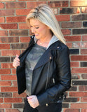 Faux Leather Jacket with detachable hood