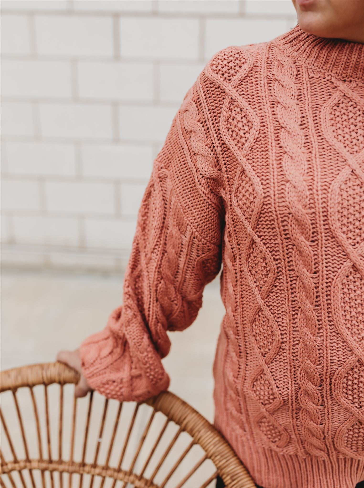 Salmon Cableknit Sweater