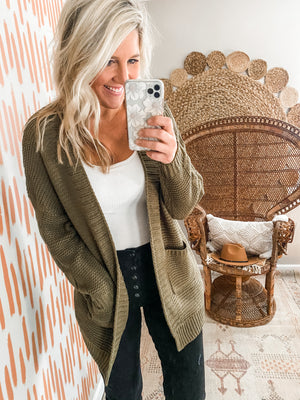 Olive Braided Detail Front Pocket Cardigan