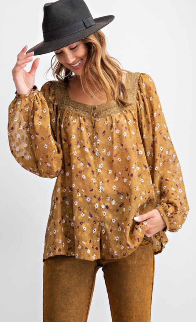 Mustard Floral Detailed Blouse