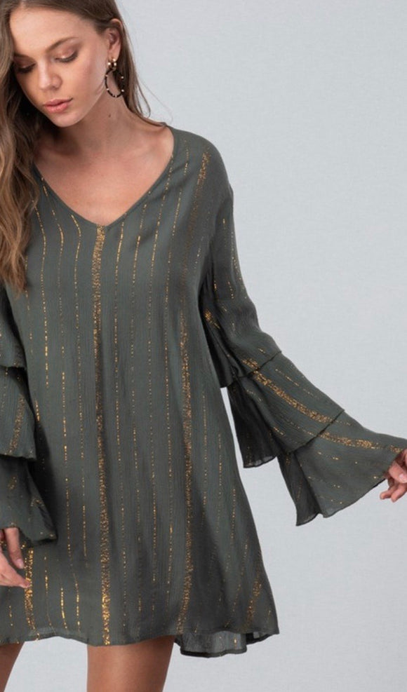 Olive & Gold Shimmer Ruffle Sleeve Dress