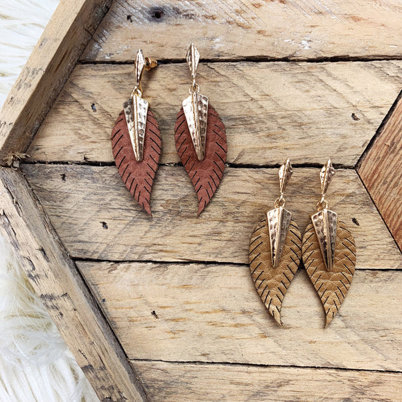Faux Feather Hammered Earrings