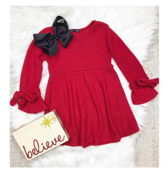 Christmas Red Bow Tie Sleeve Dress