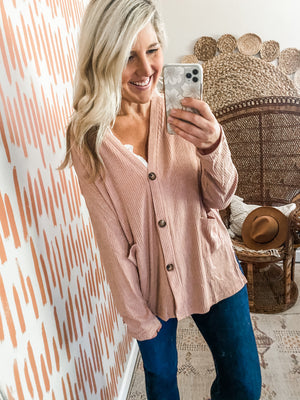 Mauve Button Detail Cardigan Top