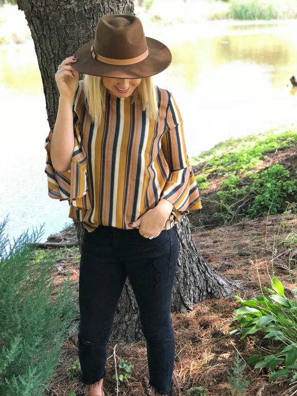 Mustard Striped Bell Sleeve Blouse