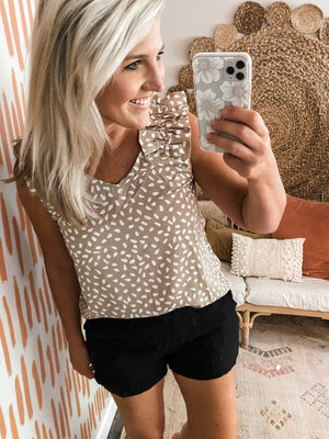 Latte Dotted Ruffle Top