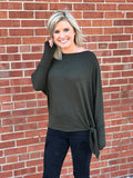 Olive Heathered Dolman Top