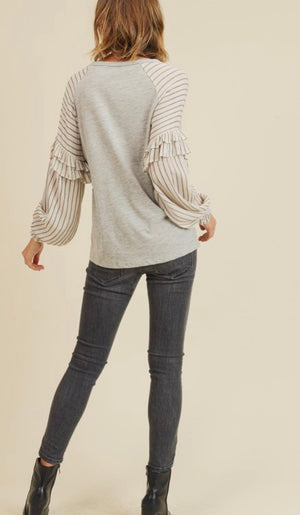 Grey Striped Sleeve Ruffle Detail Top