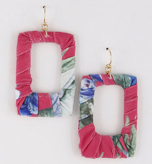 Floral Wrapped Cloth Earrings
