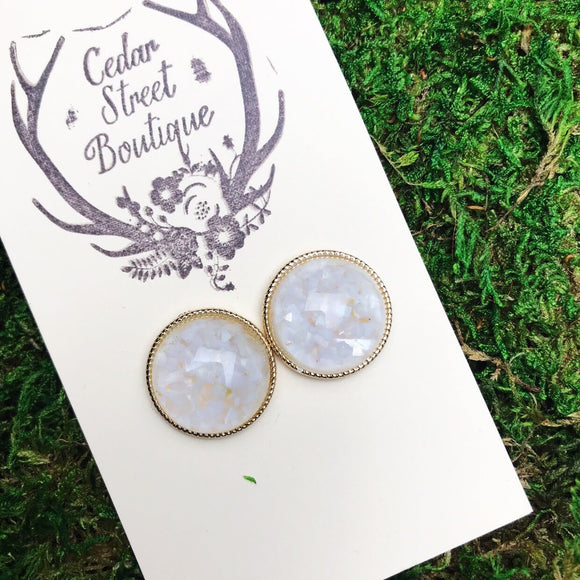 Cedar Street White & Gold Cloud Studs