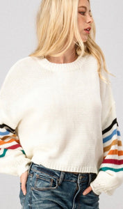 White Striped Bubble Sleeve Cropped Sweater