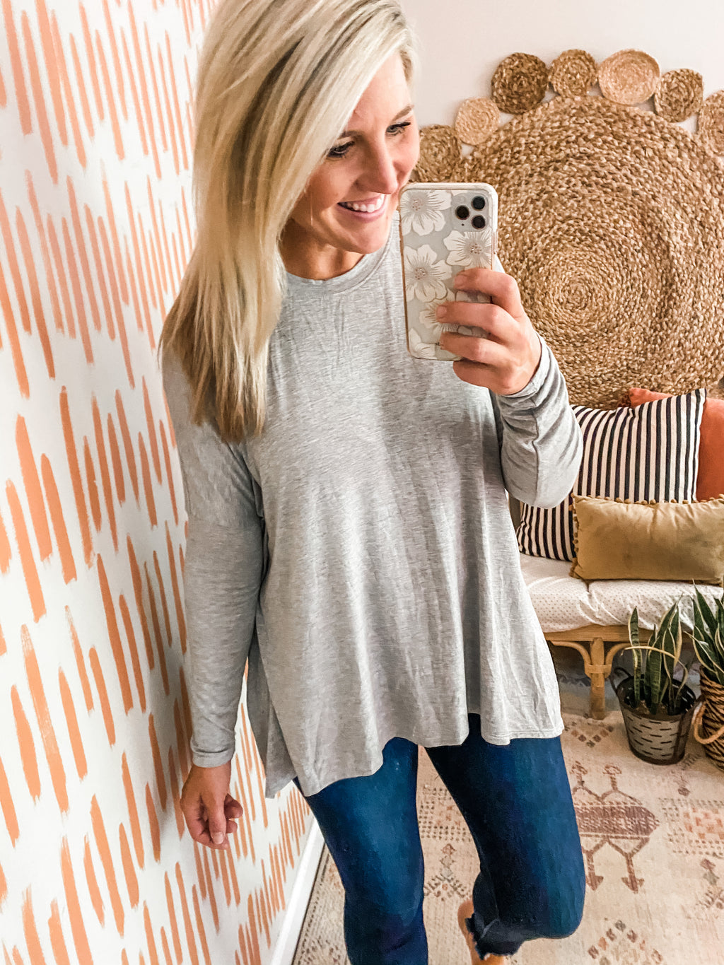 Grey Dolman Sleeve Tunic Top