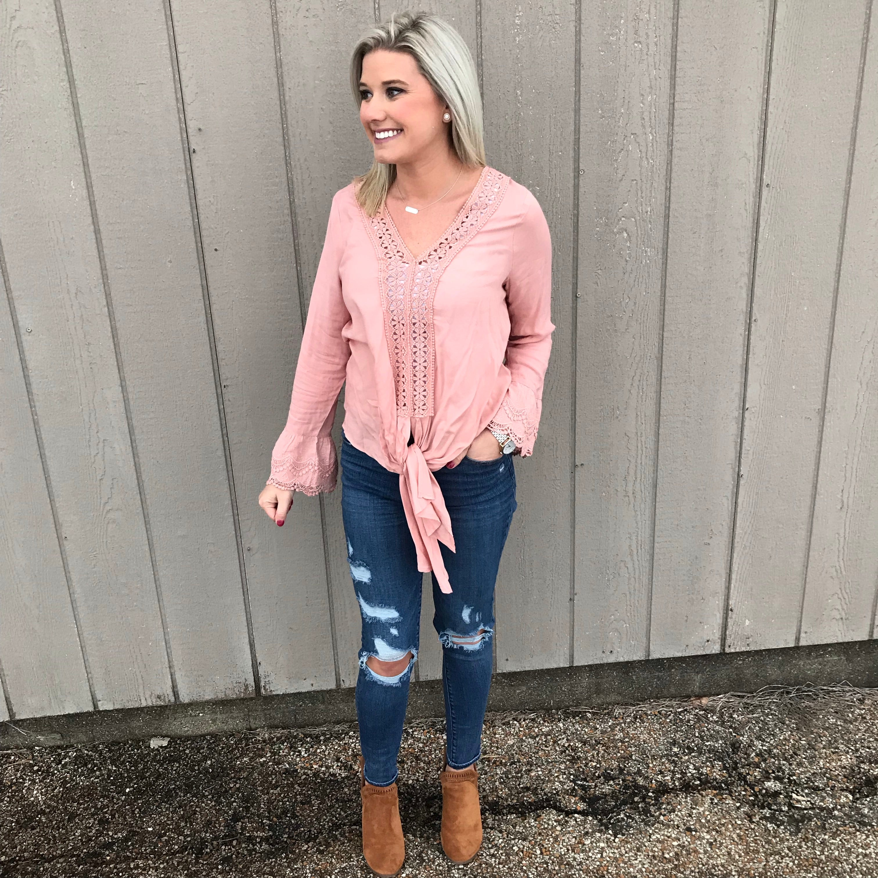 Blush Bell Sleeved Tie Top