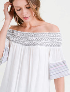 White Smocked Off The Shoulder Top