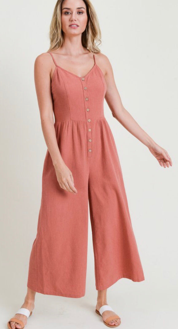Brick Criss Cross Cropped Jumpsuit