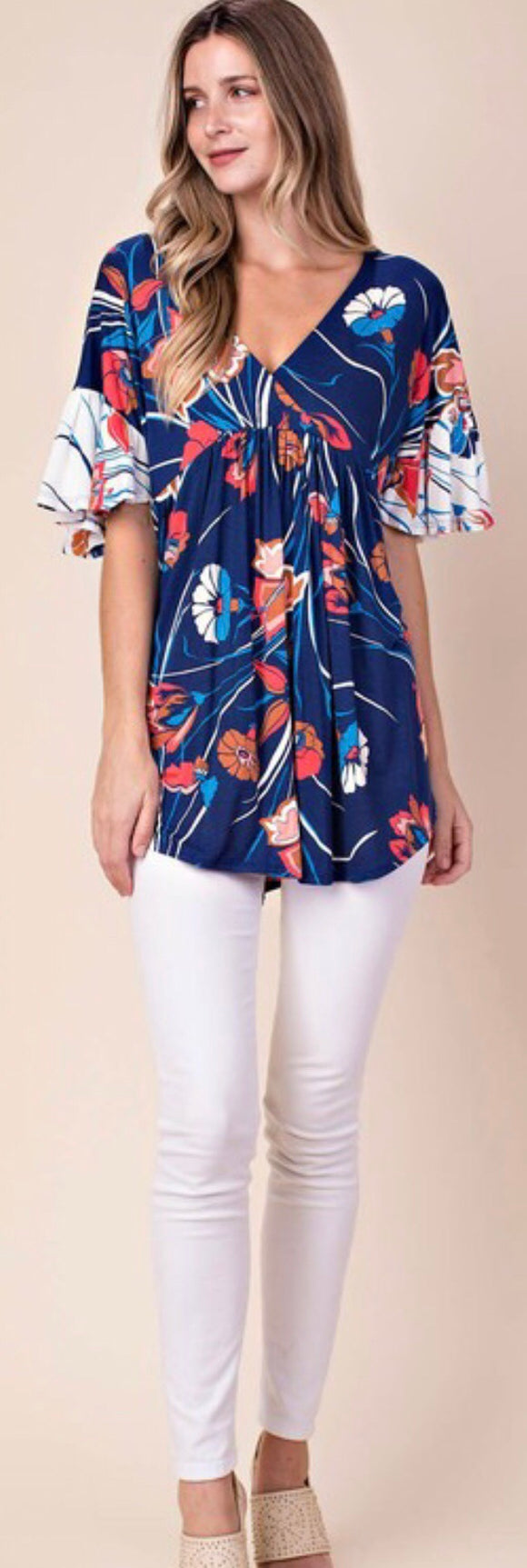 Navy Multi Floral Top