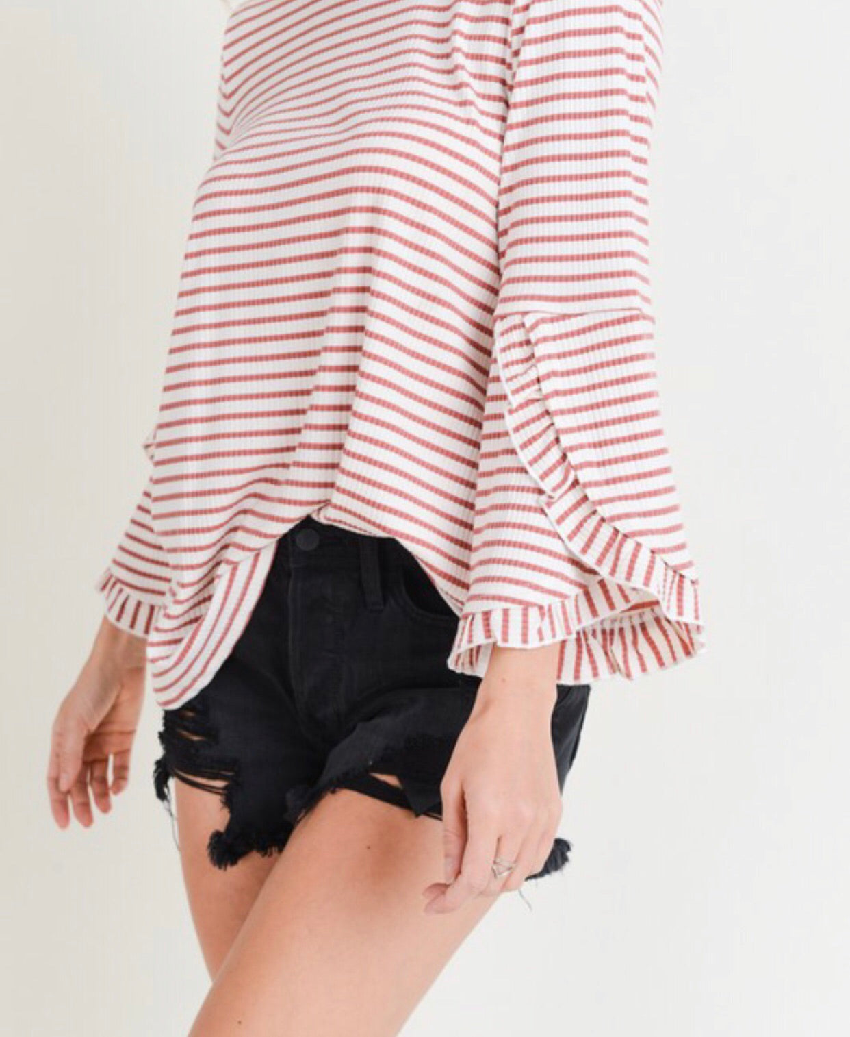 Rose Stripe Ruffle Detail Top