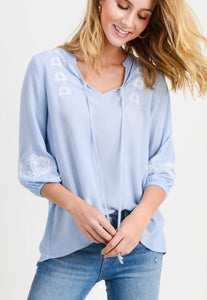 Baby Blue Embroidered Tie Top