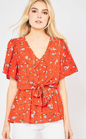 Red Floral Knotted Top