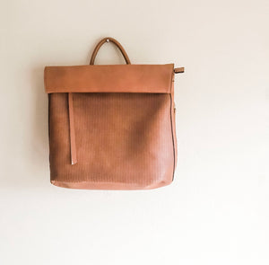 Rolltop Faux Leather Backpack
