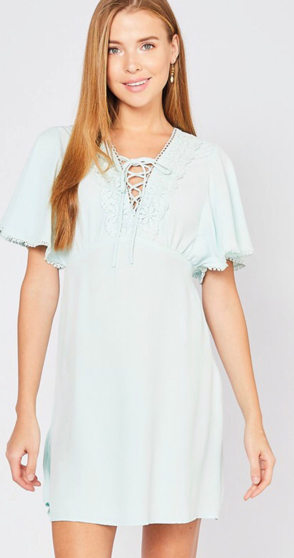 Mint Lace Up Dress