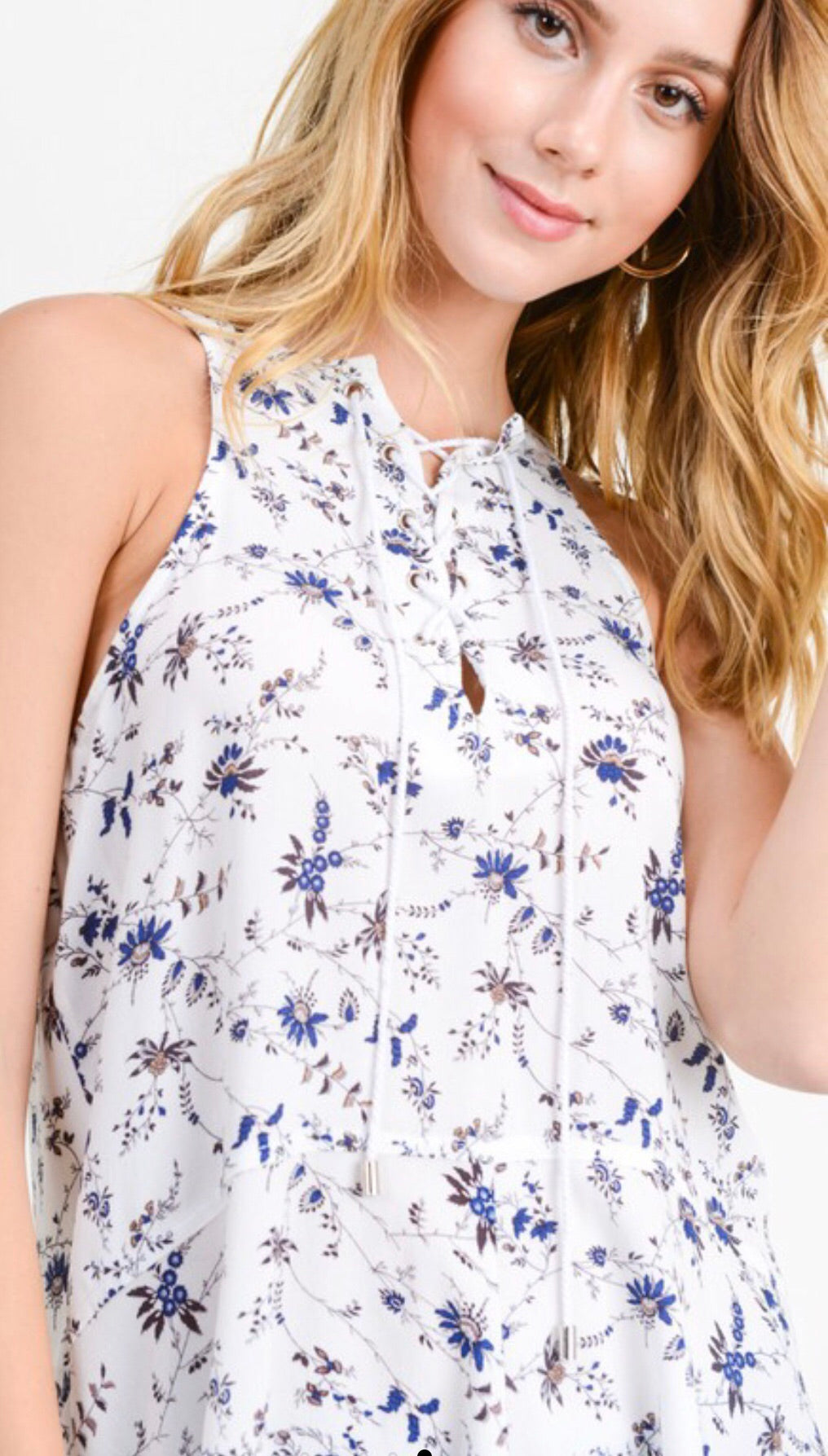 Ivory Floral Lace Up Tank