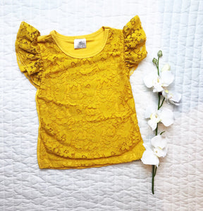 Mustard Lace Ruffle Top