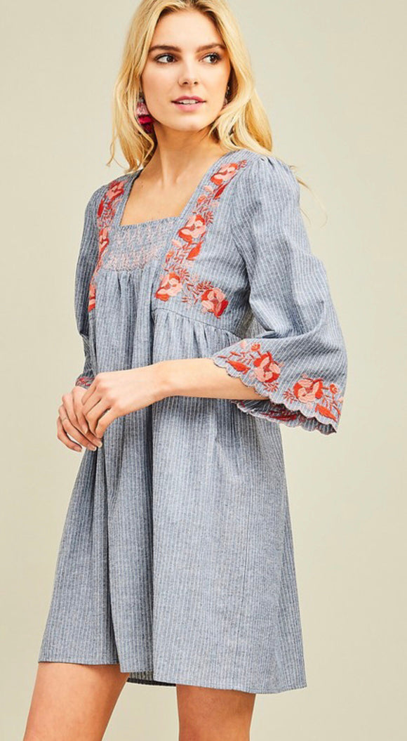 Denim Embroidered Detail Dress