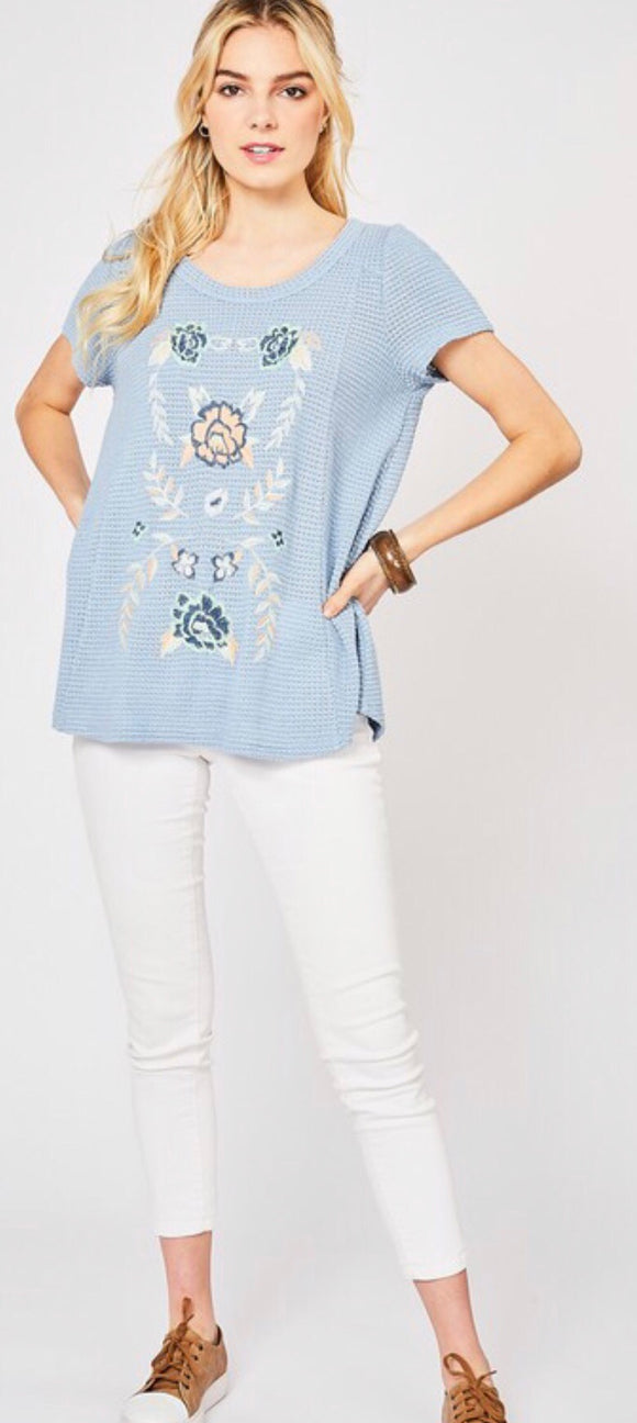 Steel Blue Embroidered Top