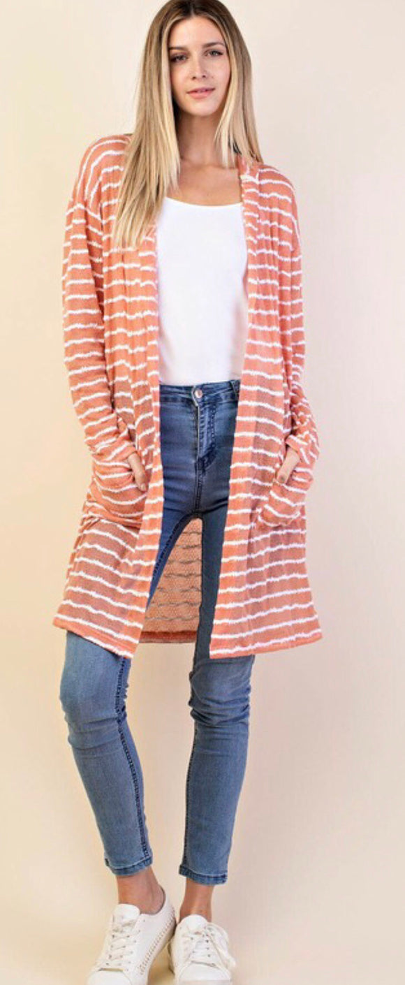 Mauve/White Striped Hooded Cardigan