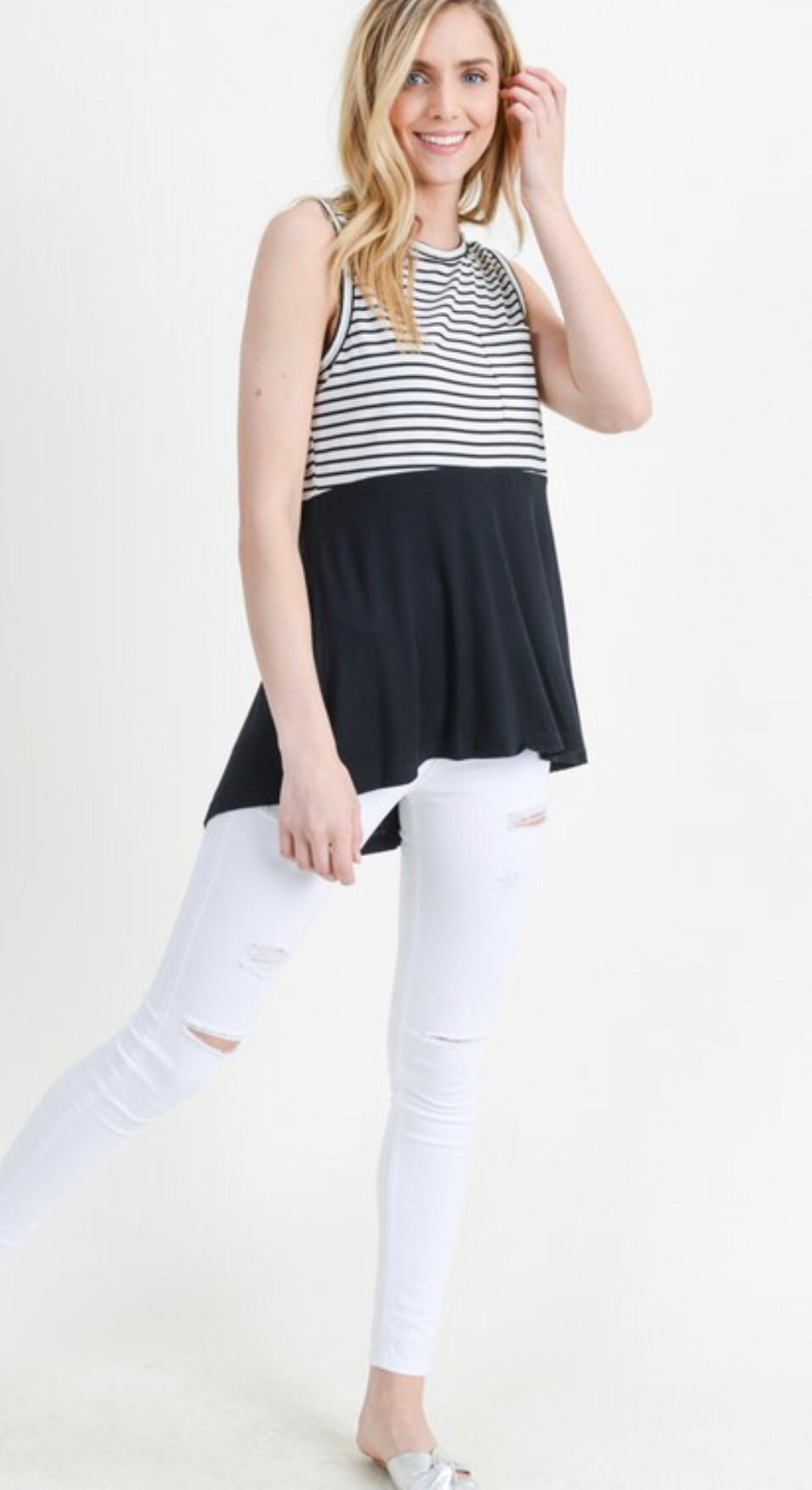 Black/White Striped Pocket Tank