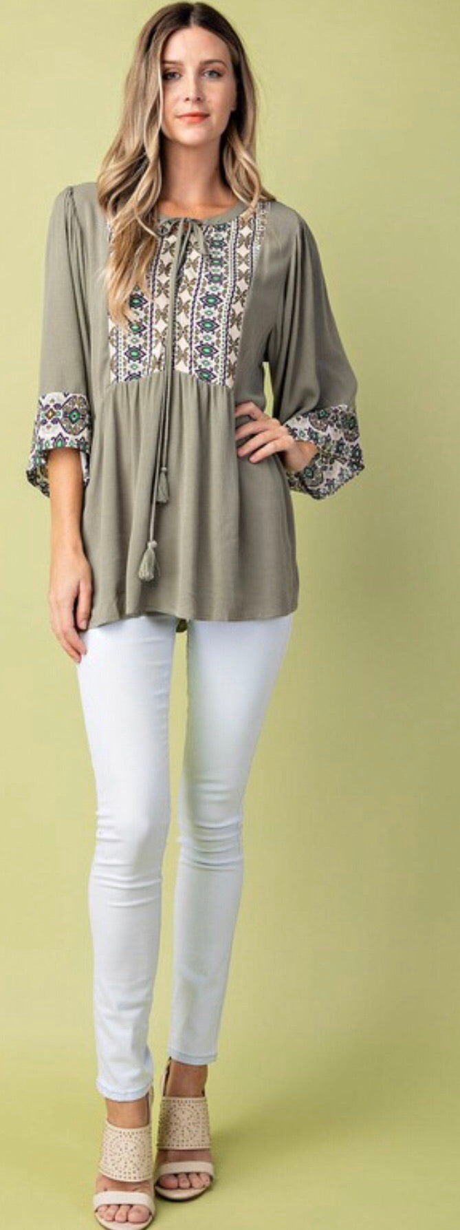 Sage Embroidered Tunic Top