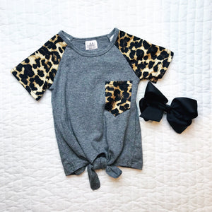 Leopard Sleeve Knotted Top