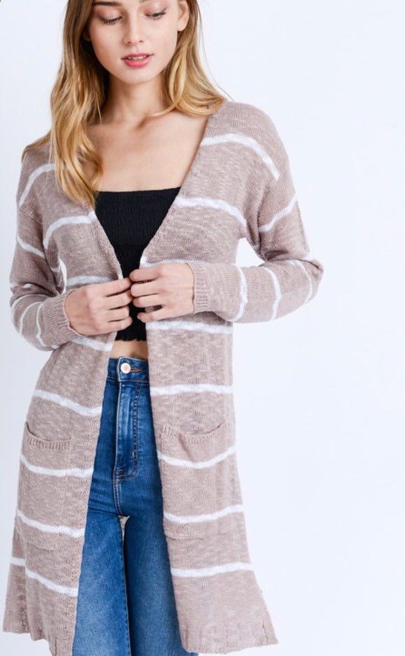 Mauve Striped Cardigan