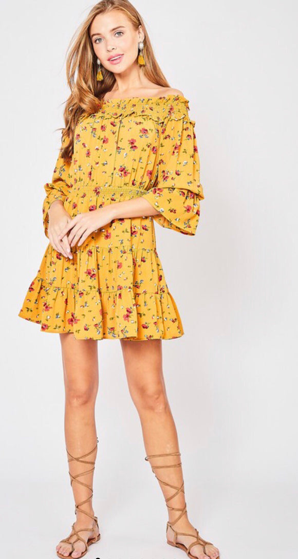 Mustard Floral Off The Shoulde