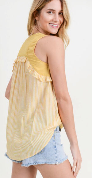 Buttercream Yellow Striped Ruffle Tank