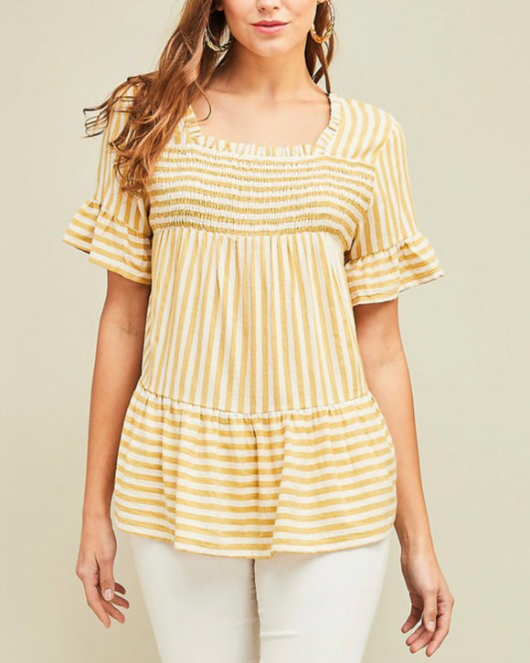 Mustard Striped Peplum Top