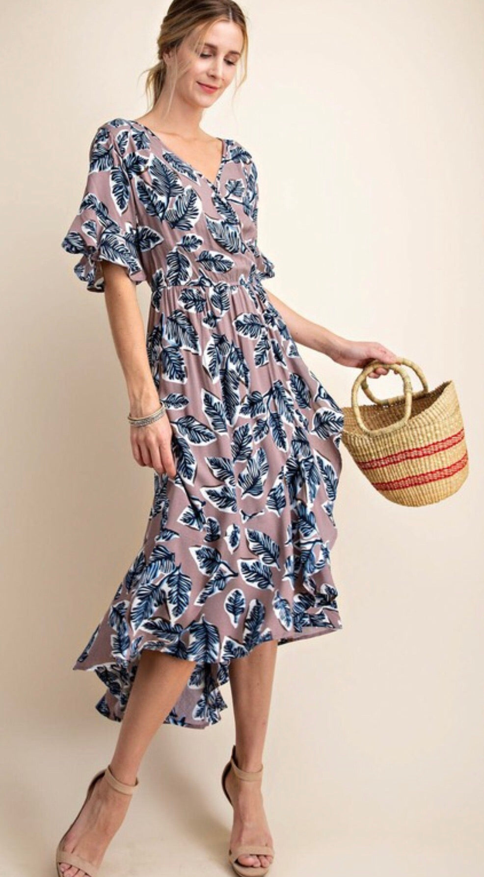 Ash Purple Patterned Midi Dress