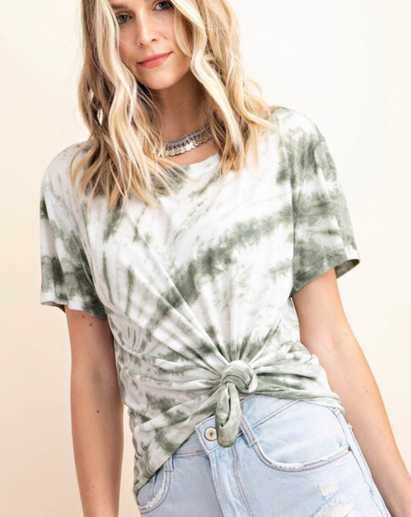 Olive Tie Dyed Short Sleeve Top