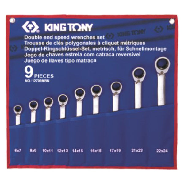 SPANNER SET 9PC RATCHET TYPE 9PC DOUBLE RING 6-24MM - King Tony - Dizzel Shopping